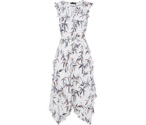 Pippa ruffle-trimmed printed silk crepe de chine midi dress