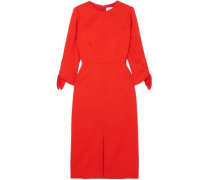 Woman Bow-detailed Wool-blend Twill Dress Tomato Red