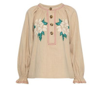 Zahid Embroidered Cotton-gauze Blouse Beige