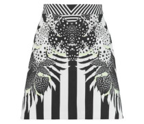 Printed stretch-crepe mini skirt