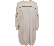 Woman Oversized Bead-embellished Mélange Cashmere And Silk-blend Sweater Neutral