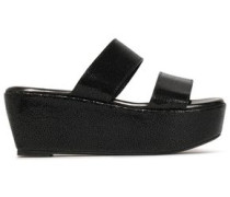 Frazuc Textured-leather Platform Sandals Black