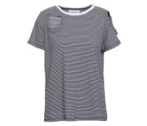 Cutout Striped Cotton-blend Jersey T-shirt Black Size 0