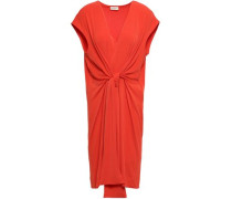 Quinnas Tie-front Crepe-jersey Dress Tomato Red
