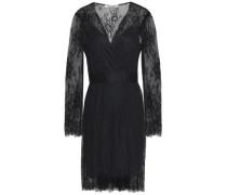 Satin-trimmed Lace Dress Black