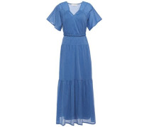 Woman Braid-trimmed Gathered Striped Cotton-crepe Maxi Dress Blue