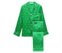 Woman Lila Printed Silk-charmeuse Pajama Set Green