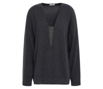 Bead-embellished Cashmere Sweater Charcoal