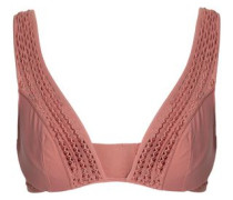 Crochet-trimmed satin triangle bra