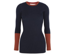 Two-tone ribbed wool-blend sweater