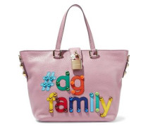 Appliquéd Textured-leather Tote Baby Pink Size --