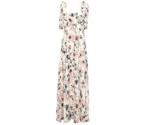 Woman Harmony Bow-detailed Floral-print Crepe-jersey Maxi Dress Cream