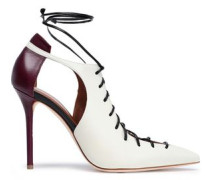 Montana two-tone lace-up leather pumps