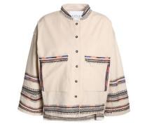 Bed-embellished embroidered cotton-canvas jacket