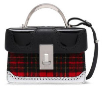 Checked Felt, Patent And Textured-leather Shoulder Bag Black Size --