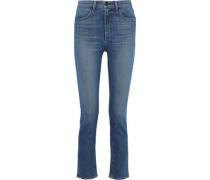 Faded High-rise Slim-leg Jeans Mid Denim  4
