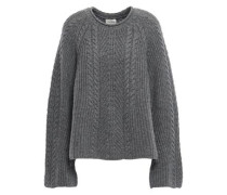 Grenade Mélange Cable-knit Cashmere Sweater Gray Size ONESIZE