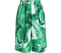 Printed silk-twill shorts