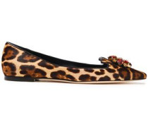 Woman Bellucci Crystal-embellished Leopard-print Calf Hair Point-toe Flats Animal Print