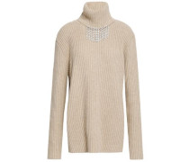 Crystal-embellished Ribbed Wool Turtleneck Sweater Beige