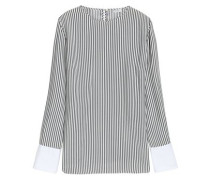 Bead-embellished striped silk blouse