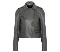 Leather Biker Jacket Gray