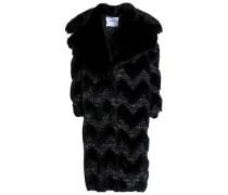 Metallic bouclé-trimmed faux fur coat