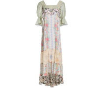 Paneled floral-print crepe de chine and georgette maxi dress