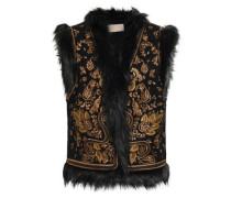 Faux Fur-trimmed Embellished Wool-blend Felt Vest Black