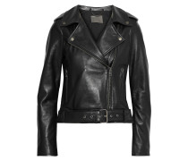 Woman Cordilleran Leather Biker Jacket Black