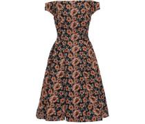 Off-the-shoulder Embroidered Mesh Dress Black