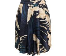 Pleated Printed Satin Shorts Navy