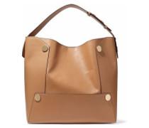 Popper faux leather shoulder bag