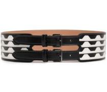 Two-tone Leather Belt Black  5