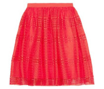 Flared guipure lace skirt