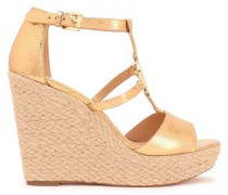 Metallic Snake-effect Leather Wedge Espadrille Sandals Gold