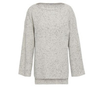 Marled Ribbed Cashmere Sweater Light Gray