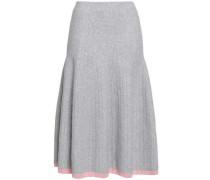 Flared Ribbed Wool-blend Midi Skirt Light Gray Size 1