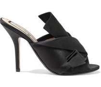 Woman Knotted Satin Mules Black