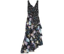 Cutout Tiered Floral-print Silk-georgette Maxi Dress Black