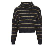 Bead-embellished striped cashmere turtleneck sweater
