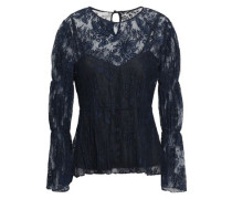 Gathered Lace Blouse Midnight Blue