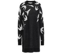 Jacquard-knit Mini Dress Black