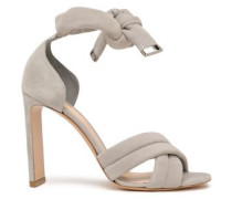 Knotted Suede Sandals Stone