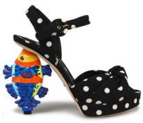 Knotted polka-dot crepe platform sandals