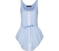 Bow-detailed Striped Cotton-poplin Top Light Blue Size 0
