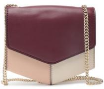 Lou Color-block Leather Shoulder Bag Plum Size --