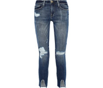 Le Garçon Cropped Distressed Mid-rise Skinny Jeans Mid Denim  5