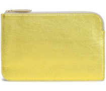 Metallic Textured-leather Pouch Gold Size --