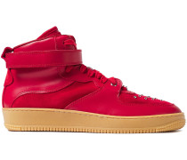 Woman Glam Slam Leather And Studded Suede High-top Sneakers Tomato Red